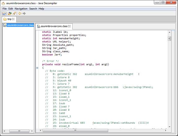 jhojaで逆コンパイル阻止コードを埋め込んだJavaクラスファイルをJD-GUIで逆コンパイルしようとして失敗した画像。